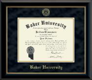 Baker University Gold Embossed Diploma Frame in Onyx Gold