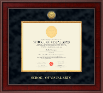 School of Visual Arts Presidential Gold Engraved Diploma Frame in Jefferson