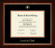 Lewis & Clark College Gold Embossed Diploma Frame in Murano