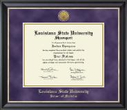 Louisiana State University School of Medicine in Shreveport Gold Engraved Medallion Diploma Frame in Noir