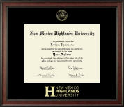 New Mexico Highlands University Gold Embossed Diploma Frame in Studio