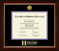 New Mexico Highlands University Gold Engraved Medallion Diploma Frame in Murano