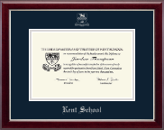 Kent School in Connecticut Silver Embossed Diploma Frame in Gallery Silver