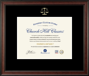 Embossed Law Certificate Frame in Studio