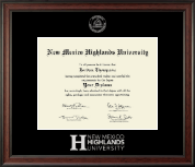 New Mexico Highlands University Silver Embossed Diploma Frame in Studio