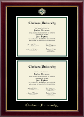 Clarkson University Masterpiece Medallion Double Diploma Frame in Gallery