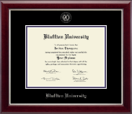 Bluffton University Silver Embossed Diploma Frame in Gallery Silver