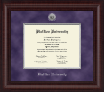 Bluffton University Presidential Silver Engraved Diploma Frame in Premier