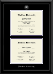 Bluffton University Double Diploma Frame in Onyx Silver
