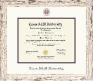 Maroon Embossed Diploma Frame in Barnwood White