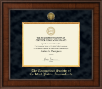 Connecticut Society of Certified Public Accountants Presidential Gold Engraved Certificate Frame in Madison