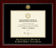 Connecticut Society of Certified Public Accountants Gold Engraved Medallion Certificate Frame in Sutton