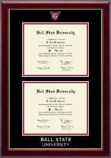 Ball State University Masterpiece Medallion Double Diploma Frame in Gallery