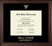 Ball State University Gold Embossed Diploma Frame in Studio