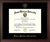James Madison University Gold Embossed Diploma Frame in Studio