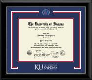 Pewter Spirit KU Medallion Diploma Frame in Onyx Silver