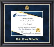 Gold Engraved Medallion Certificate Frame in Noir