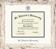 Navy Embossed Diploma Frame in Barnwood White