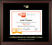 Gold Embossed CBCC-KA Certificate Frame in Studio