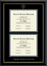 Colorado Christian University Double Diploma Frame in Onyx Gold