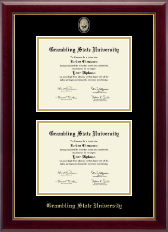 Grambling State University Masterpiece Medallion Double Diploma Frame in Gallery