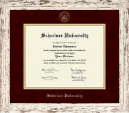 Gold Embossed Diploma Frame in Barnwood White