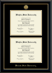 Gold Engraved Double Diploma Frame in Onyx Gold