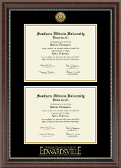 Gold Engraved Double Diploma Medallion Frame in Chateau