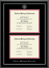 Indiana Wesleyan University  Double Diploma Frame in Onyx Silver