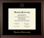 Hamline University Gold Embossed Diploma Frame in Studio