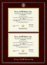 Texas A&M University - Galveston Masterpiece Medallion Double Diploma Frame in Sutton