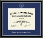Kirkwood Community College Silver Embossed Diploma Frame in Onexa Silver