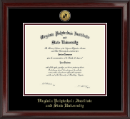 Virginia Polytechnic Institute and State University Gold Engraved Medallion Diploma Frame in Encore