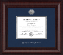 Phillips Academy Andover Presidential Silver Engraved Diploma Frame in Premier