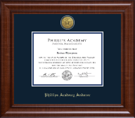 Phillips Academy Andover Gold Engraved Medallion Diploma Frame in Prescott