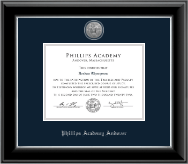 Phillips Academy Andover Silver Engraved Medallion Diploma Frame in Onyx Silver