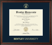Bentley University Gold Embossed Diploma Frame in Studio