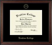 Erskine College Gold Embossed Diploma Frame in Studio