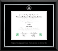 Arkansas Colleges of Health Education Silver Embossed Diploma Frame in Onyx Silver