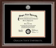 Oregon State University Silver Engraved Medallion Diploma Frame in Devonshire
