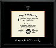 Oregon State University Silver Embossed Diploma Frame in Onyx Silver