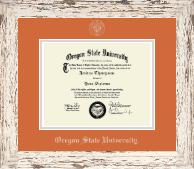 Oregon State University Silver Embossed Diploma Frame in Barnwood White