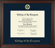 College of the Canyons Gold Embossed Diploma Frame in Studio