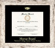 Gold Embossed Certificate Frame in Barnwood White