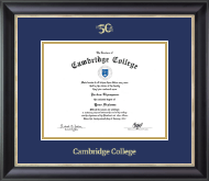 Cambridge College 50th Anniversary Gold Embossed Diploma Frame in Noir