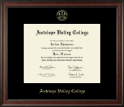 Antelope Valley College Gold Embossed Diploma Frame in Studio